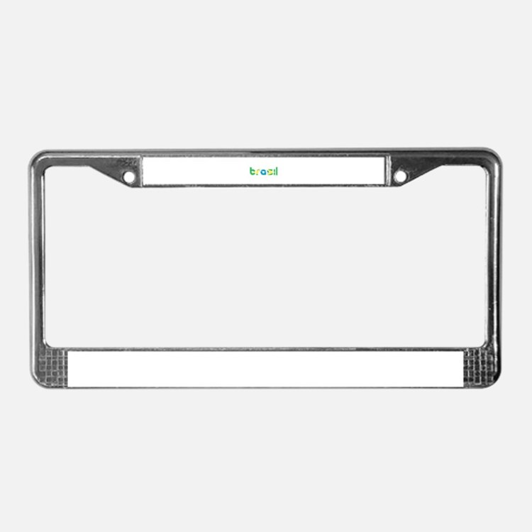 Brazil Flag in Name License Plate Frame