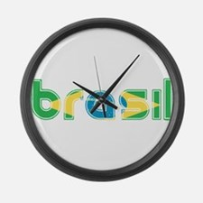 Brazil Flag in Name Large Wall Clock