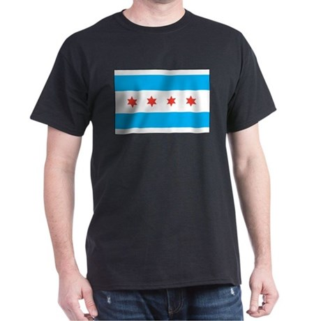 Chicago Flag Black T-Shirt