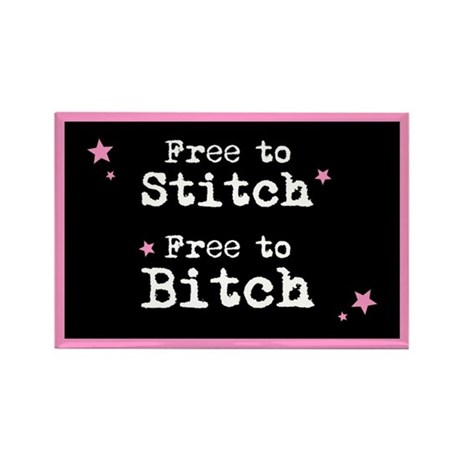 Free to Stitch - Free to Bitc Rectangle Magnet (10