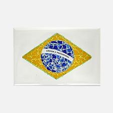 Brazil Flag Tiles Rectangle Magnet