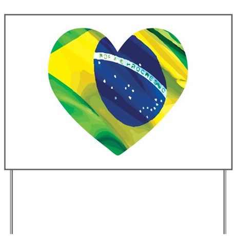 Brazil Heart Flag Solid Yard Sign