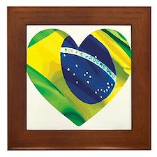 Brazil Heart Flag Solid Framed Tile