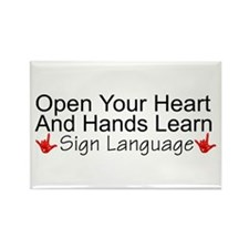 Open Your Heart And Hands Lea Rectangle Magnet