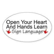 Open Your Heart And Hands Lea Oval Decal