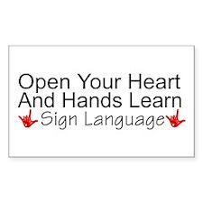 Open Your Heart And Hands Lea Sticker (Rectangular