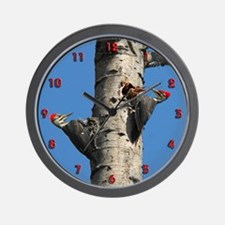 Pileated Woodpecker Family Wall Clock