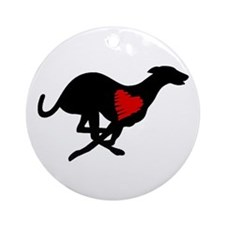 Greyhound Ornament (oval)/Heart Hound