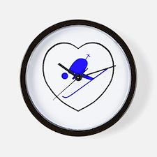 skierwhiteheart Wall Clock