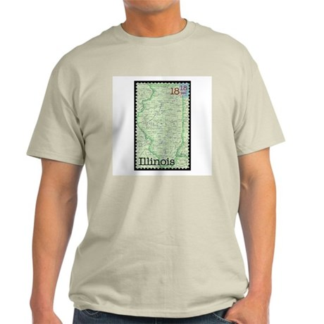 Illinois Stamp Ash Grey T-Shirt