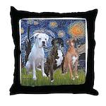 Starry / 3 Boxers Throw Pillow