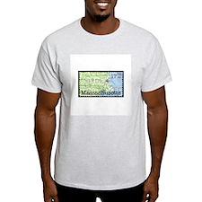 Massachusetts Stamp Ash Grey T-Shirt