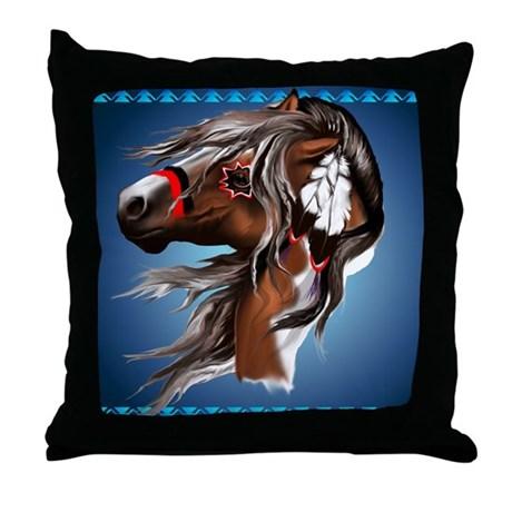 Paint Horse and Feathers Throw Pillow