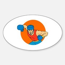 Amateur Boxer Overhead Punch Circle Drawing Sticke