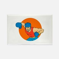 Amateur Boxer Overhead Punch Circle Drawing Magnet