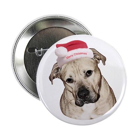 "Christmas Old English Bulldog Pit Mix 2.25"" Button"