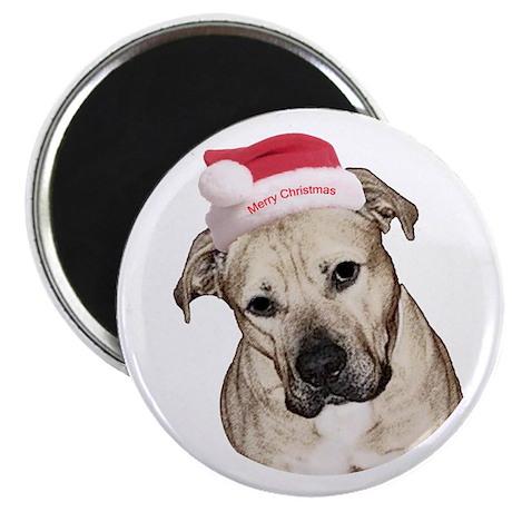 "Christmas Old English Bulldog Pit Mix 2.25"" Magnet"