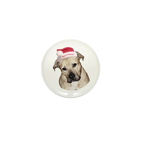Christmas Old English Bulldog Pit Mix Mini Button
