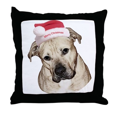 Christmas Old English Bulldog Pit Mix Throw Pillow