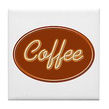 Coffee Sign Neon Glow Tile Coaster