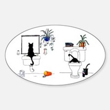 Two Cats In The Bath Sticker (Oval)