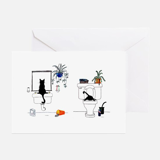 Two Cats In The Bath Greeting Cards (Pk of 10)