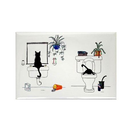 Two Cats In The Bath Rectangle Magnet (100 pack)