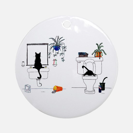 Two Cats In The Bath Ornament (Round)