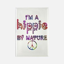 Hippie By Nature Retro Rectangle Magnet