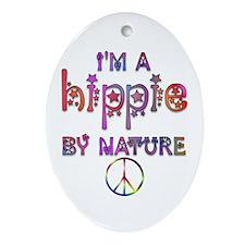 Hippie By Nature Retro Oval Ornament