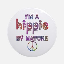 Hippie By Nature Retro Ornament (Round)