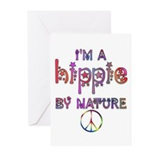 Hippie By Nature Retro Greeting Cards (Package of