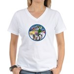 Xmas Magic / 3 Boxers Women's V-Neck T-Shirt