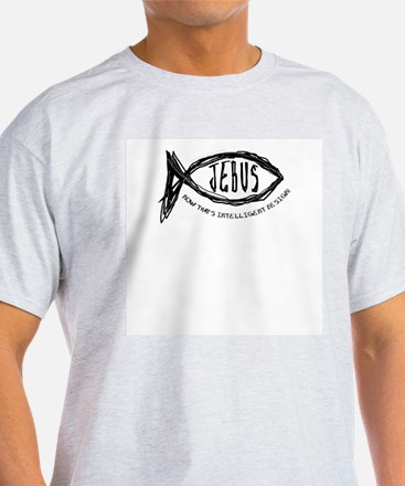 Jebus Fish Intelligent Design Ash Grey T-Shirt