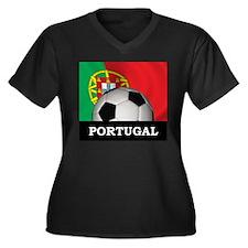 Portugal Football Women's Plus Size V-Neck Dark T-