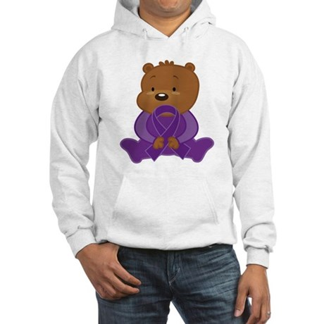 Teddy Bear Alzheimers Ribbon Hooded Sweatshirt