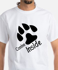 Canine inside furry shirt