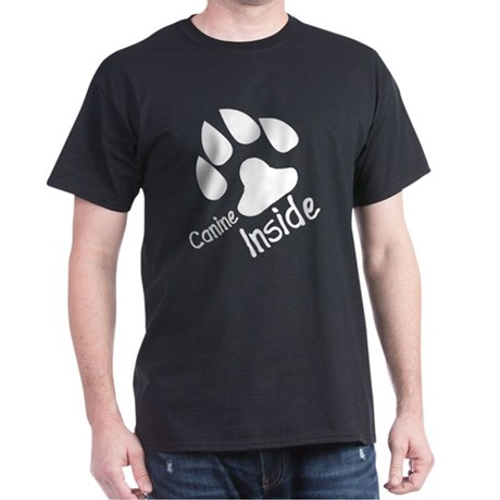 Canine inside furry black shirt