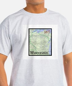 Wisconsin Stamp Ash Grey T-Shirt