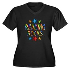 Reading Women's Plus Size V-Neck Dark T-Shirt
