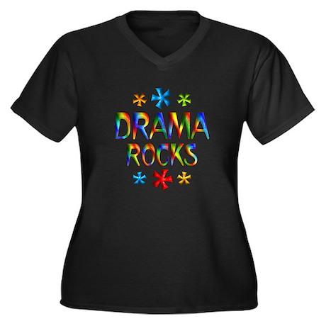 Drama Women's Plus Size V-Neck Dark T-Shirt
