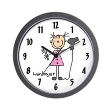 Pink Dress Hairdresser Wall Clock