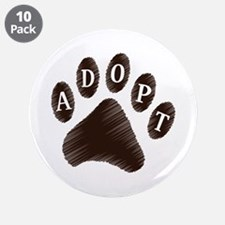 "Animal Adoption Paw 3.5"" Button (10 pack)"