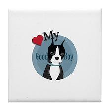 Love Good Boy Boston Terrier Tile Coaster