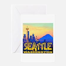 Seattle WA Mt. Rainier Golden Skyline Greeting Car