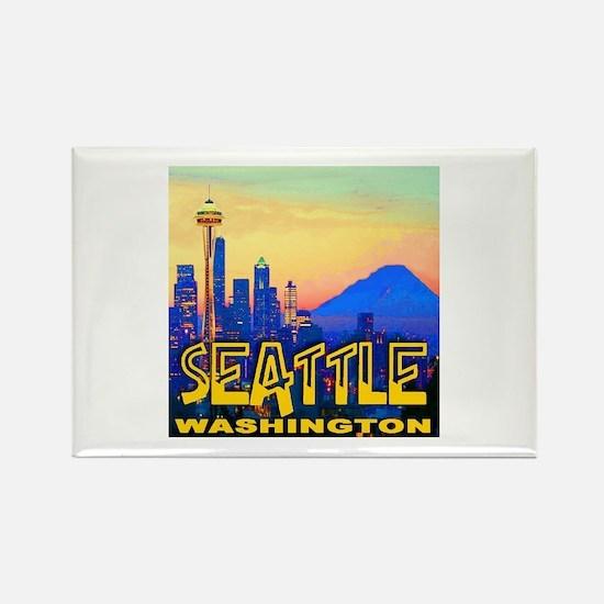 Seattle WA Mt. Rainier Golden Skyline Rectangle Ma