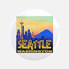 """Seattle WA Mt. Rainier Golden Skyline 3.5"""" Button"""
