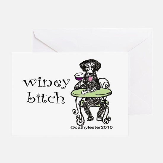 Winey Bitch Curly Greeting Card