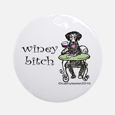 Winey Bitch Curly Ornament (Round)