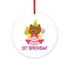 Sweet Bear 1st Birthday Ornament (Round)